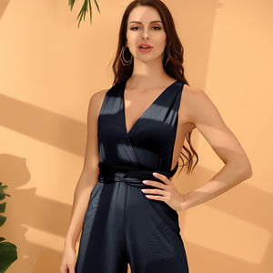 Wide-Leg Infinity Jumpsuit Twist Wrap Convertible Bridesmaid Romper