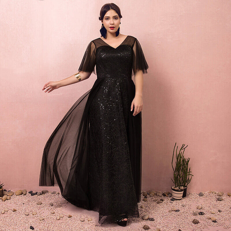 Black Formal Evening Dresses for Plus Size Women