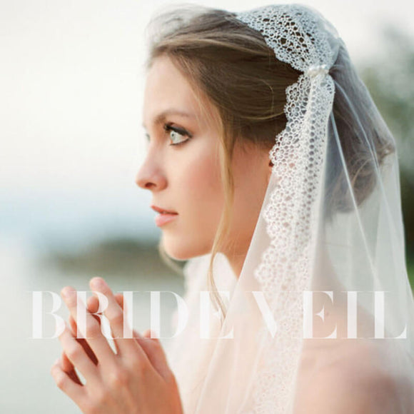 Romantic Tulle Wedding Bridal Lace Veil with Pearls