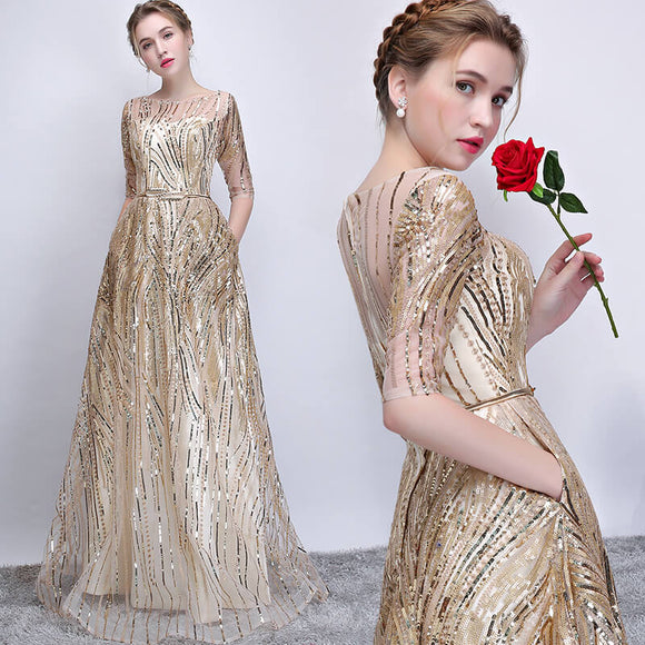 Champagne Golden Sequined Half Sleeves Aline Formal Evening Gown