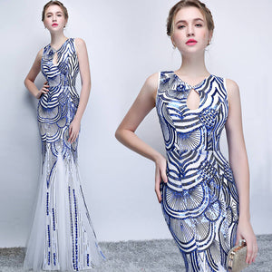 Blue White Sequined Hollowed Mermaid Slimming Long Evening Gown