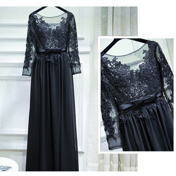 Black Backless Chiffon Bridesmaid Maxi Dress Sexy Lace
