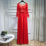 Red Backless Chiffon Bridesmaid Maxi Dress Sexy Lace