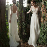 Backless Chiffon Wedding Dress Sexy Lace