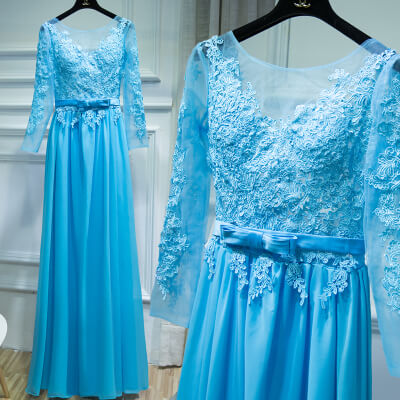Blue Backless Chiffon Bridesmaid Maxi Dress Sexy Lace