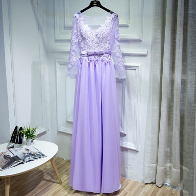 Lilic Backless Chiffon Bridesmaid Maxi Dress Sexy Lace