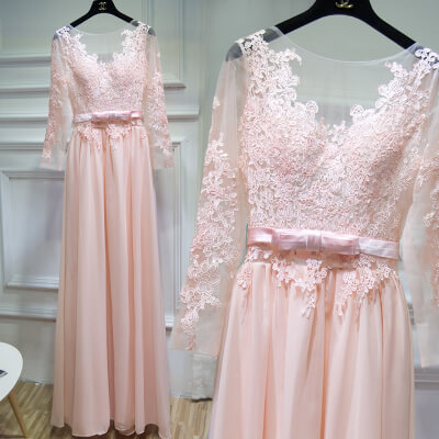 Blush Backless Chiffon Bridesmaid Maxi Dress Sexy Lace