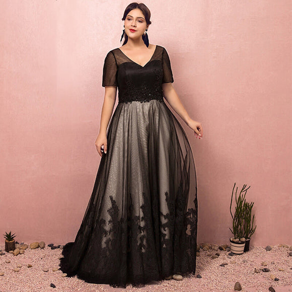 Plus Size Black Formal Lace Evening Dress