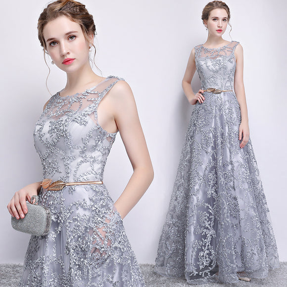 Silver Grey O Neck Pocket A Line Evening Formal Dress