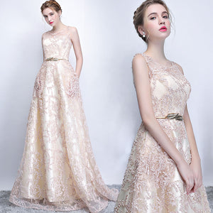 Beige Champagne O Neck Pocket A Line Evening Formal Dress