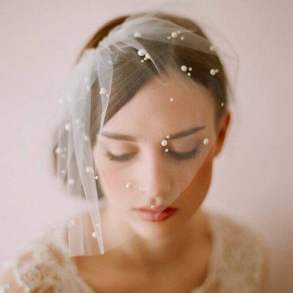 Tulle Destination Wedding Bridal Short Veil with Pearls