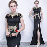 [Final Sale] Black Vintage Sheer Waist Mermaid High Slit Lace Appliqués Evening Dress