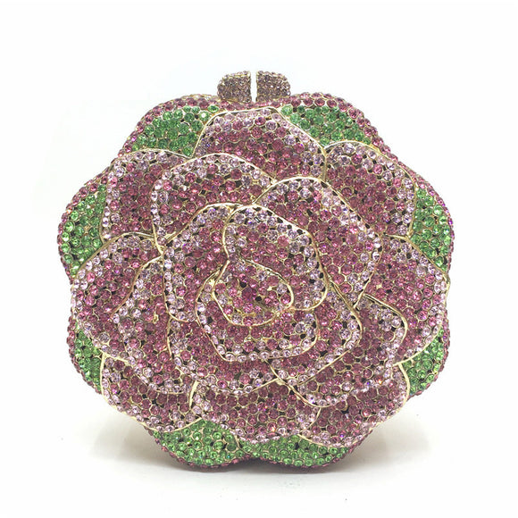 Fantastic Rose Shape Luxury Handcraft Evening Clutch Full of Rhinestone