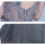 Gray Formal Party Gown Illusion Beaded