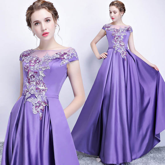 Lavender Noble Satin Embroidery Formal Evening Dress Homecoming Dress