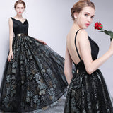 Vintage Neckline Satin Bodice Backless Black Printed Skirt Long Party Gown