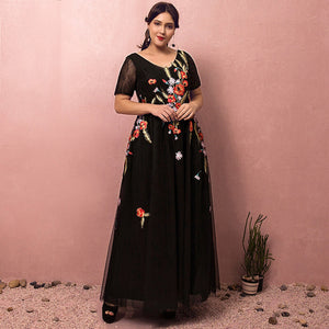 Plus Size Black Formal Evening Dress with Colorful Embroidery