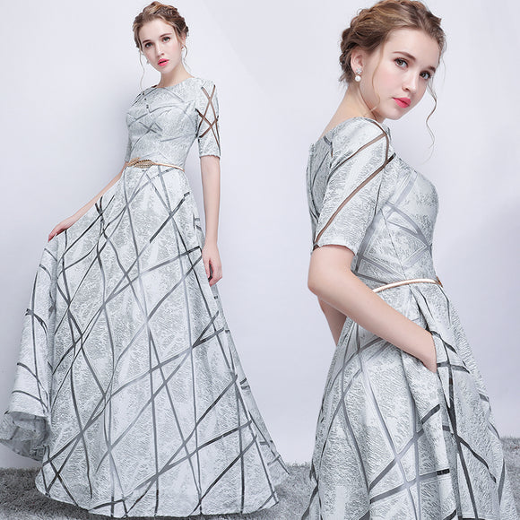 Silver Grey Sheer Geometry Short Sleeves Fashion Homecoming Party Formal Dress