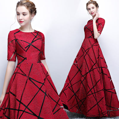 Burgundy Sheer Geometry Short Sleeves Fashion Homecoming Party Formal Dress