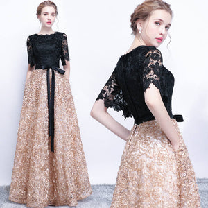 Lace Bodice A Line Pocket Bow Tied Semi Formal Fashion Evening Gown