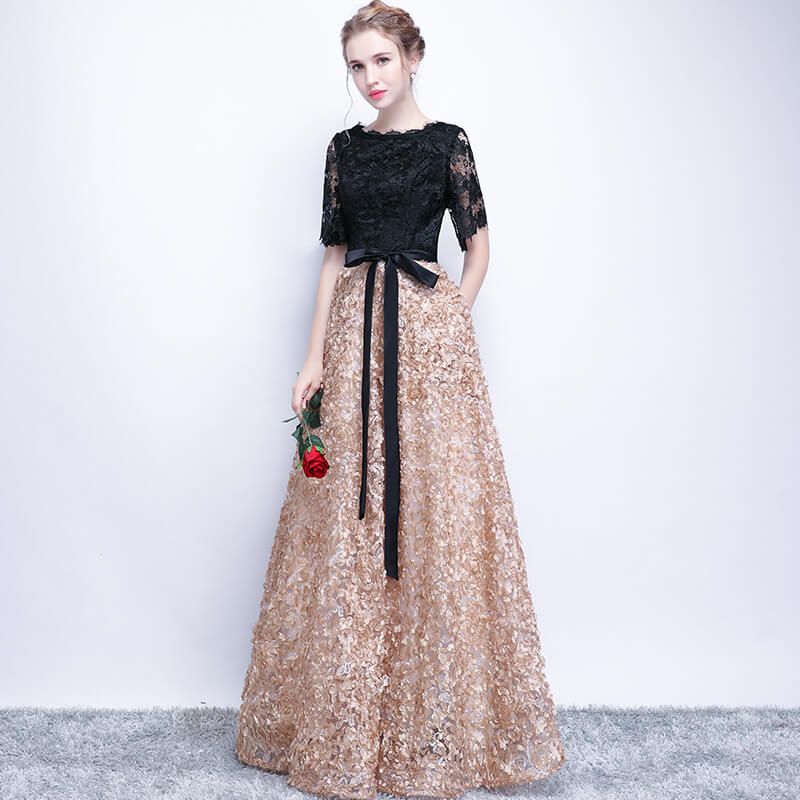 a43dd14d1bed ... Lace Bodice A Line Pocket Bow Tied Semi Formal Fashion Evening Gown ...