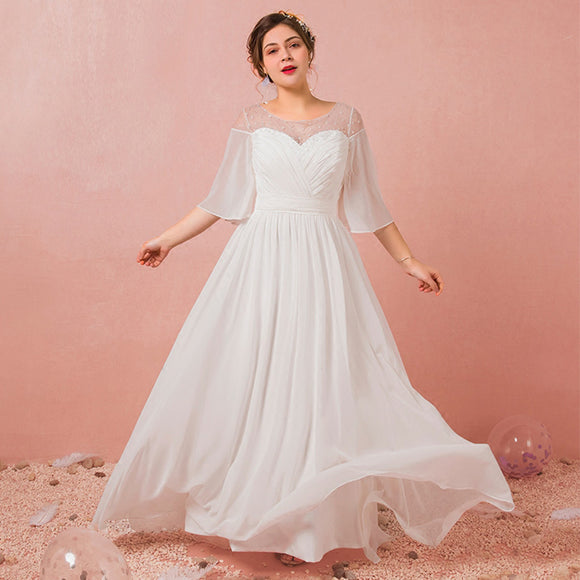 [Plus Size] Flowing Pleated Chiffon Wedding Dresses for Brides