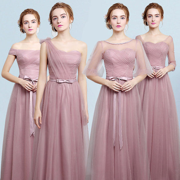 Dusty Rose Long Bridesmaid Dress Gauze Mix Match Style