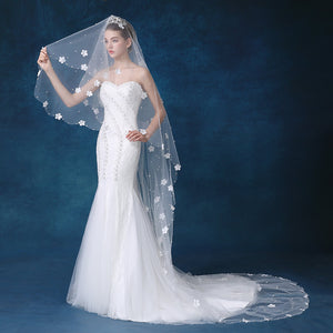 Tulle Wedding Bridal Long Veil with Flowers and Pearls