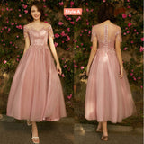 Mix Match Dusty Rose and Silver Embroidery Strapless Bridesmaid Dresses