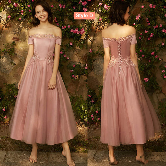 Mix Match Dusty Rose and Silver Embroidery Cold Shoulder Bridesmaid Dresses