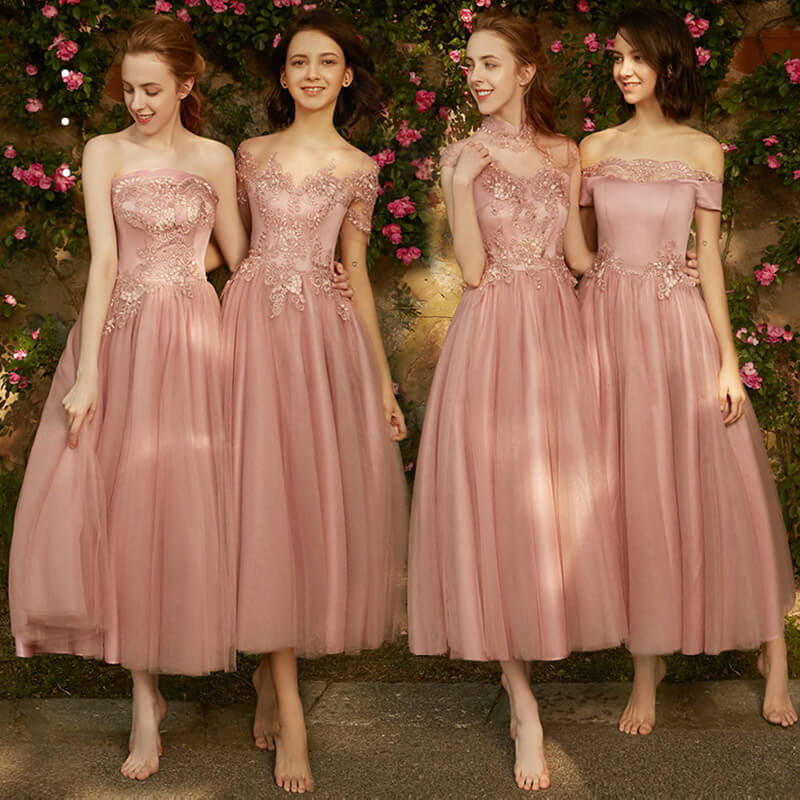 Mix Match Dusty Rose and Silver Embroidery V Cut Bridesmaid Dresses