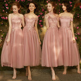 Mix Match Dusty Rose and Silver Embroidery Bridesmaid Dresses