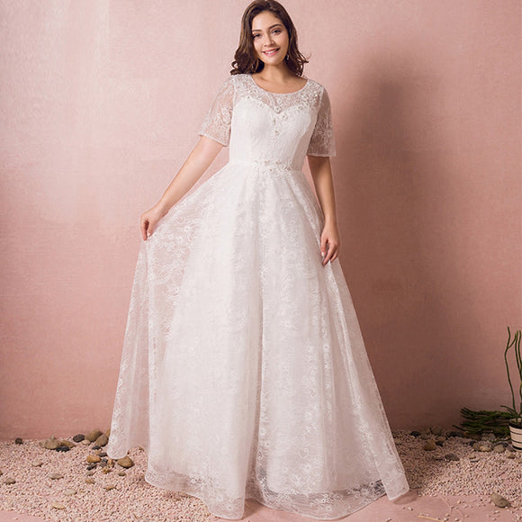 [Plus Size] Illusion Sweetheart Over Lace Wedding Dress
