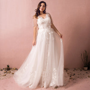 Plus Size Lace Flowing Wedding Bridal Dress