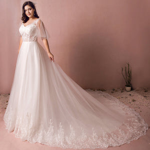 [Plus Size] Illusion Bodice Ruffle Sleeves Lace Wedding Dresses