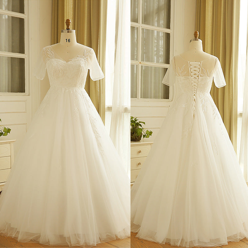 [Plus Size] Leaves Lace V Neck Tulle Wedding Dresses