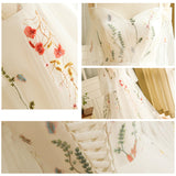 Plus Size] Colorful Embroidery Butterfly Sleeve Wedding Dress