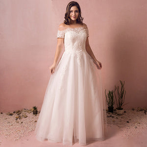 [Plus Size] Slash Off Shoulder Lush Lace Wedding Dresses