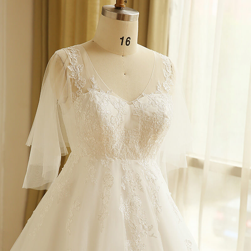 Plus Size Empire Lace V Neck Wedding Bridal Dress