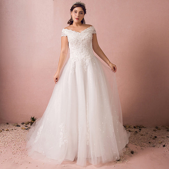 [Plus Size] Beaded Off Shoulder Lace Wedding Gown for Brides