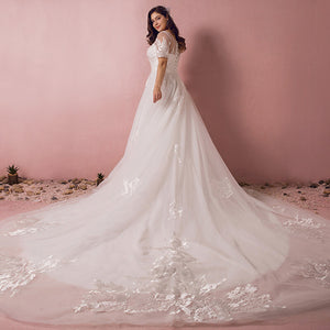 Plus Size Empire Pattern Wedding Bridal Dress with Big Train