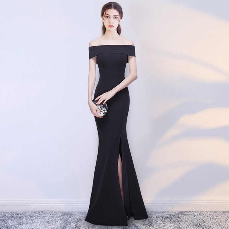 Lapel Off The Shoulder Slit Slimming Mermaid Formal Evening Dress