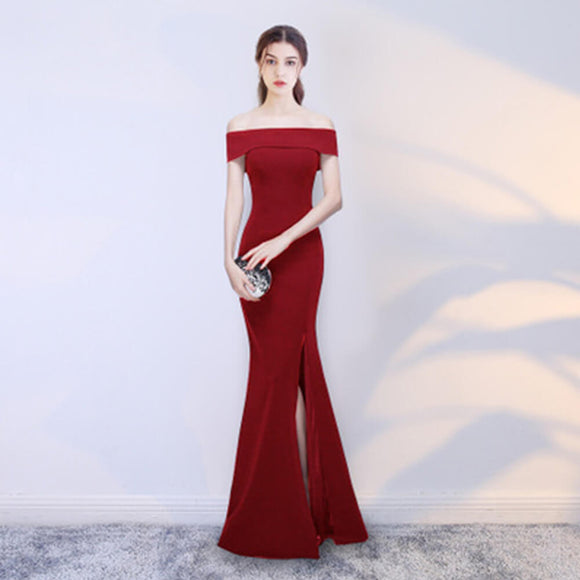 Burgundy Lapel Off The Shoulder Slit Slimming Mermaid Formal Evening Dress