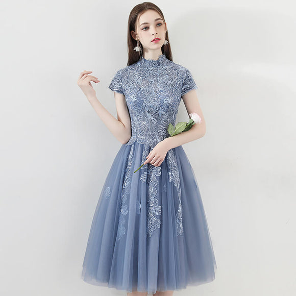 Vintage Dusty Blue Cocktail Party Dress Embroidery Lace