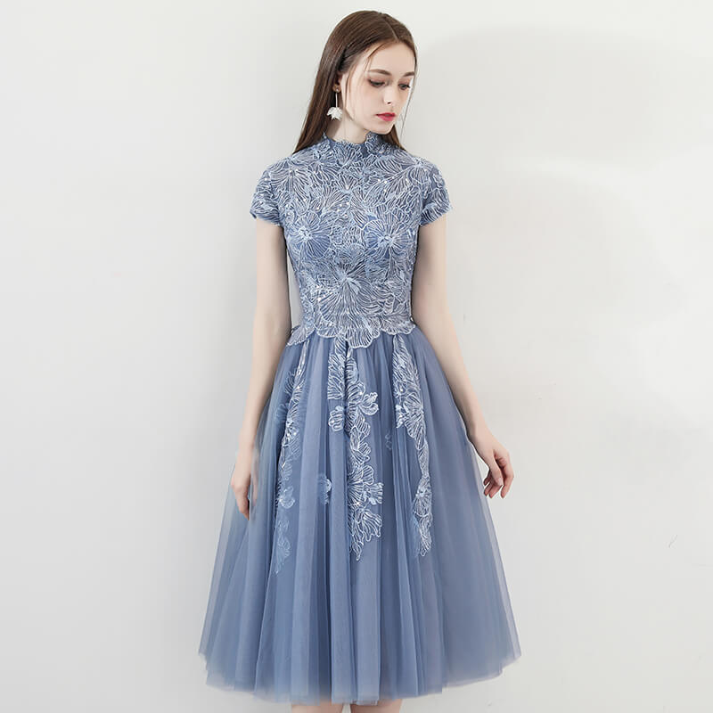 05587619608 Vintage Dusty Blue Cocktail Party Dress Embroidery Lace – NZ Bridal