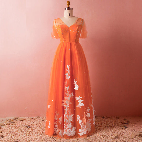 Plus Size Orange Evening Dress NZ Bridal