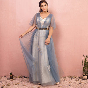 Blue Evening Dress with Embroidery NZ Bridal