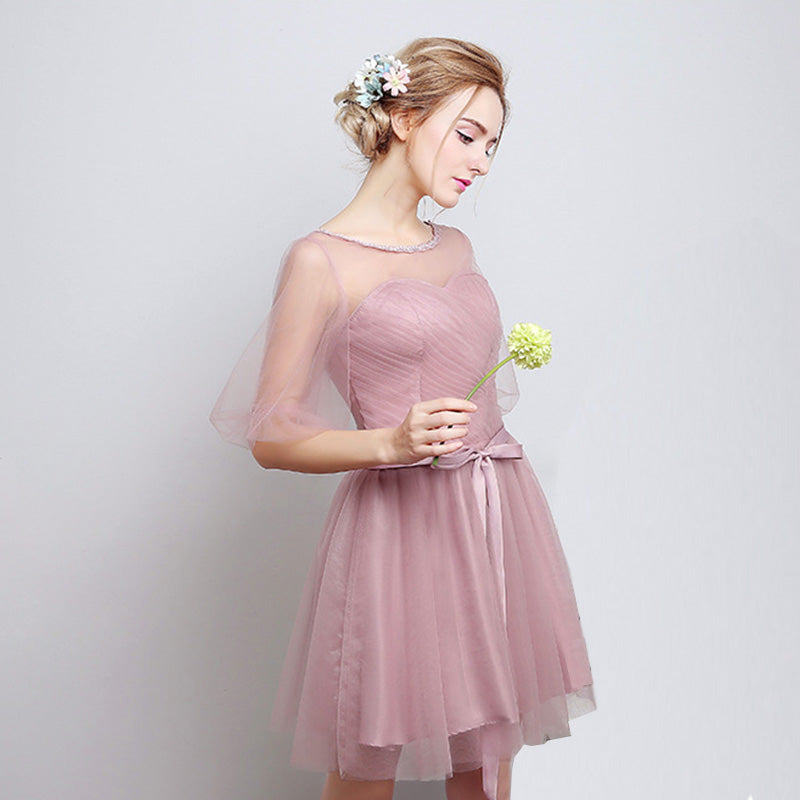 Dusty Rose Short Bridesmaid Dress Gauze Mix Match