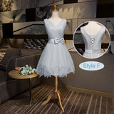 Silver Grey Short Bridesmaid Dress Gauze Mix Match Styles