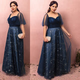 Plus Size Starry Evening Dress Detachable Sleeves
